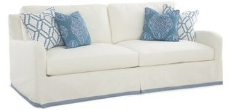 """Braxton Culler Halsey 91"""" Flared Arm Sofa Upholstery: Gray and Black Stripe, Finish: Antique Cottage White - Wood"""