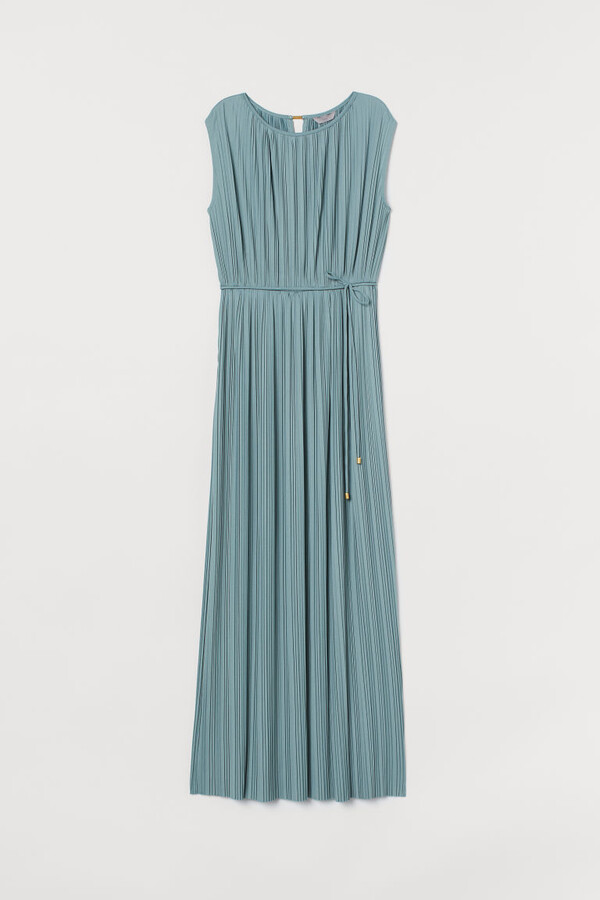 H&M Pleated Long Dress - Turquoise