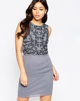 Maya Dress With Embellished Overlay And Split Back