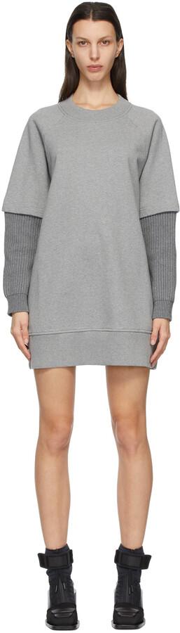 Thumbnail for your product : MM6 MAISON MARGIELA Grey Ribbed Sleeve Sweatshirt Dress