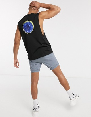 ASOS DESIGN Hacienda relaxed sleeveless t-shirt with back print and chest embroidery