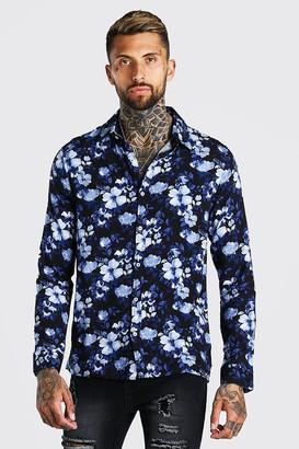 boohoo Mens Navy Long Sleeve Floral Viscose Shirt, Navy