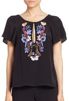 Nanette Lepore Babe Silk Embroidered Top