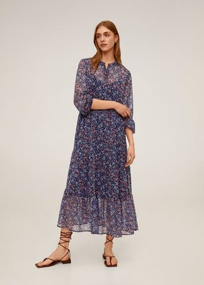 MANGO Midi printed dress navy - 4 - Women