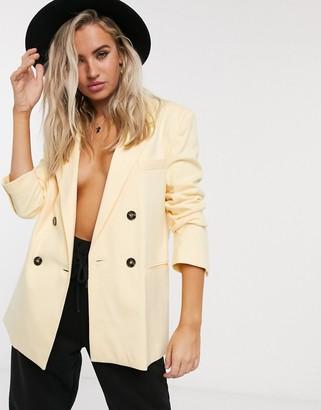 Bershka oversized blazer in yellow