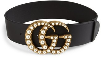 Gucci Pearly GG Buckle Wide Leather Belt