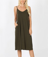 Lydiane Women's Casual Dresses DKOLIVE - Dark Olive V-Neck Sleeveless Cami Pocket Midi Dress - Women