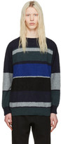 Sacai Navy & Grey Bouclé Sweater