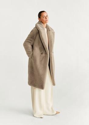 MANGO Maxi lapels faux-fur coat off white - XS - Women