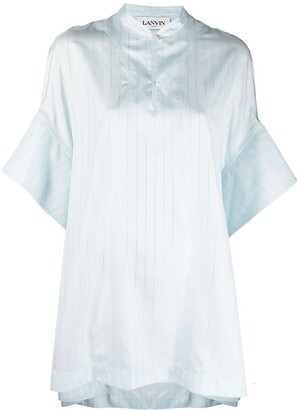 Lanvin Striped Short-Sleeve Tunic