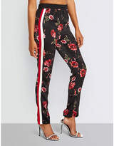 Missguided Floral-print tapered satin trousers
