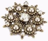 "Liz Palacios Piedras"" Swarovski Elements Crystal and Pearl Starburst Pin"