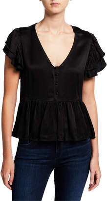 Chloé Oliver V Neck Ruffle-Sleeve Peplum Blouse w/ Self Buttons