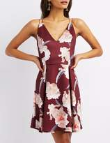 Charlotte Russe Strappy Floral Skater Dress