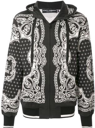 Dolce & Gabbana Bandana print zip-up hoodie