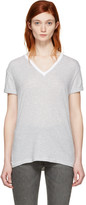 Alexander Wang Grey & White V-Neck T-Shirt