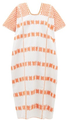 Pippa Holt - No. 167 Embroidered Cotton Kaftan - Womens - White Multi