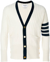 Thom Browne Tennis Collection baby cable V-neck cardigan