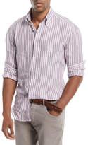Brunello Cucinelli Linen Striped Sport Shirt