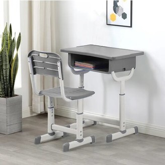 """Isabelle & MaxTM Susana Ergonomic Study School 17.32"""" W Writing Desk and Chair Set Isabelle & Max Color: Gray"""