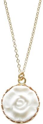 Poporcelain Porcelain Moonlight Rose Charm Gold Filled Necklace