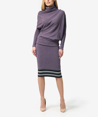 LADA LUCCI Women's Casual Skirts Lilac - Lilac Gray Sweater & Pencil Skirt - Women & Plus