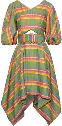 Nicholas Belted Cutout Checked Linen Dress