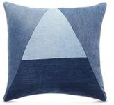 ALBUM 'A' logo vintage denim patchwork cushion