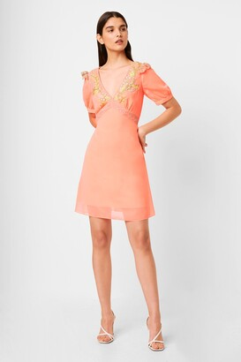French Connection Abiba Embroidered Embellished Neon Mini Dress