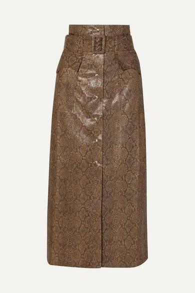 Nanushka Aarohi Belted Snake-effect Vegan Leather Midi Skirt - Brown