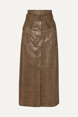 Nanushka Aarohi Belted Snake-effect Vegan Leather Midi Skirt - Brown