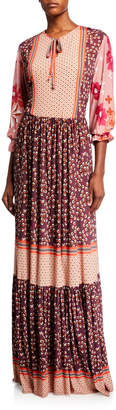 Melissa Masse Mixed-Print Long-Sleeve Maxi Dress