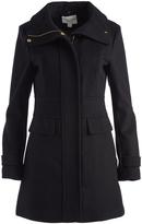 Cole Haan Black Wool-Blend Funnel Collar Coat