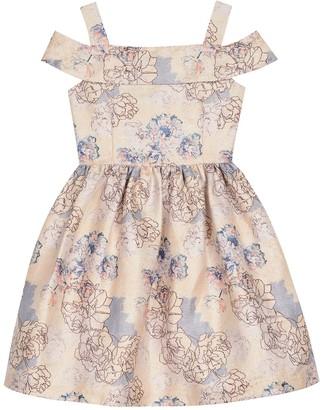 Badgley Mischka Cold Shoulder Jacquard Dress (Big Girls)