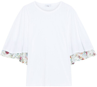 Clu Layered Cotton-jersey And Floral-print Voile Top