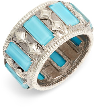 Armenta New World Turquoise Doublet Wide Band Ring