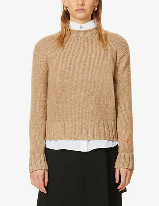 Victoria Beckham Logo-embroidered wool and cashmere-blend jumper