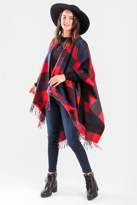 francesca's Alva Plaid Fringe Poncho - Red