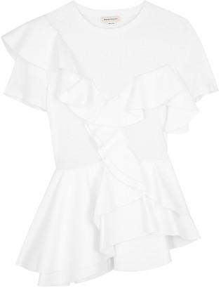 Alexander McQueen White Ruffled Cotton T-shirt