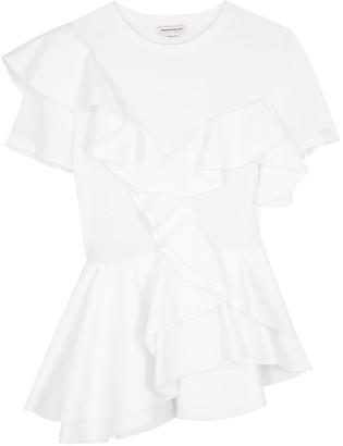 Alexander McQueen White ruffled cotton T-shirt