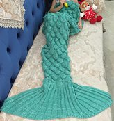 "LAGHCAT Mermaid Tail Blanket Knit Crochet and Mermaid Blanket for kids,Sleeping Blanket (56""X28"", Scale-Green)"