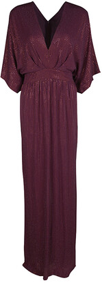 Gucci Burgundy Rhinestone Embellished Silk Kimono Sleeve Evening Gown S