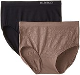 Ellen Tracy Women's Floral Jacquard Full Brief Panty (2 Pack)