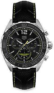 Tag Heuer Women's Formula 1 Aston Martin Special Edition 43MM Stainless Steel & Leather Strap Quartz Tachymeter Ch