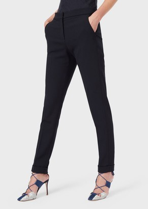 Giorgio Armani Slim-Fit Trousers In Stretch Wool Crepe