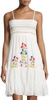 Raga Ruffled Cotton Dress W/Embroidery, Eggshell