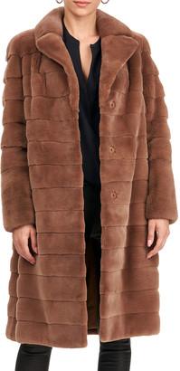Gorski Horizontal Plucked Mink Belted Stroller Coat