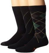 Dockers 3 Pack Classics Metro Argyle Crew Socks, Black, 10-13 Sock/6-12 Shoe