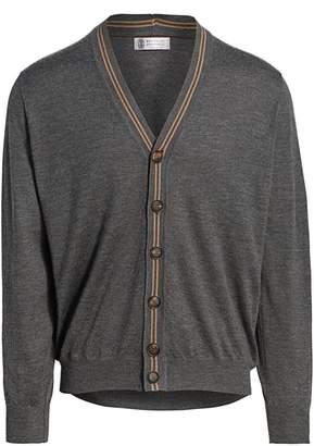 Brunello Cucinelli Stripe Rib-Knit-Trim Cashmere Silk Cardigan