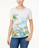 Alfred Dunner Cable Beach Graphic Top